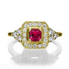 "Load image into Gallery viewer, 0.84 TCW 14K Rose Gold Ruby ""Danna"" Engagement Ring - Diamonds Mine"