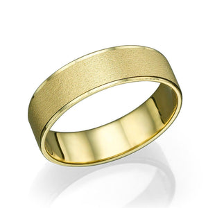 5.8MM 14K Yellow Gold Satin Finish Men Wedding Band