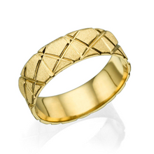 Load image into Gallery viewer, 14K Yellow Gold X Style Cross Pattern Wedding Band