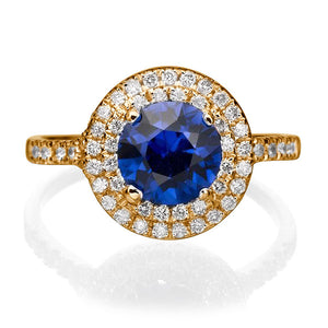 "1.1 TCW 14K Yellow Gold Blue Sapphire ""Marcia"" Engagement Ring - Diamonds Mine"