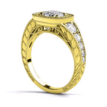 "Load image into Gallery viewer, 1.8 Carart 14K Yellow Gold Moissanite & Diamonds ""Elizabeth"" Engagement Ring"