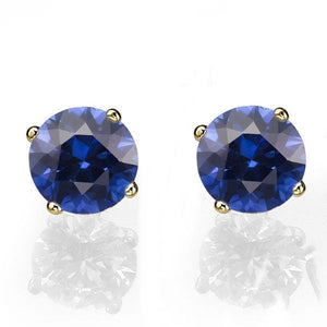 "0.4 TCW 14K Yellow Gold Blue Sapphire ""Una"" Earrings"