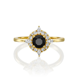 1 Carat 14K Yellow Gold Black Diamond