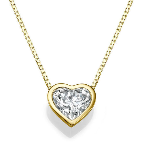 1.5 Carat 14K Yellow Gold Diamond Heart Pendant