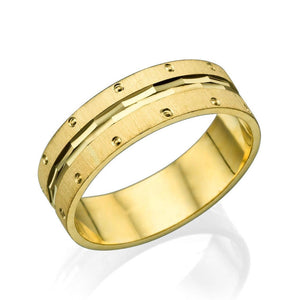 6MM 14K Yellow Gold Multi Facet Center Men Wedding Band