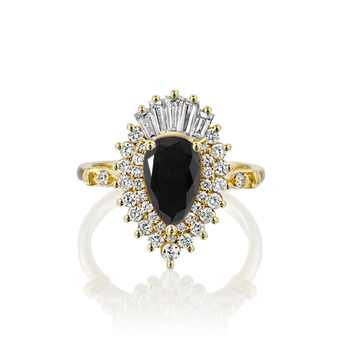 1.5 Carat 14K Yellow Gold Black Diamond Pear