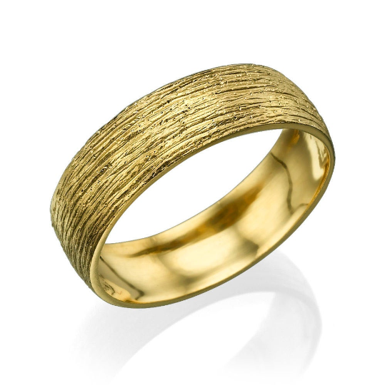 6MM 14K Yellow Gold Hand Carved Men Wedding Band