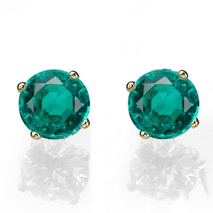 "0.4 Carat 14K Yellow Gold Emerald ""Una"" Earrings"