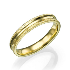 4MM 14K Yellow Gold Simple Men Wedding Band