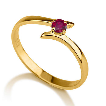 "0.2 Carat 14K Yellow Gold Ruby ""Isabel"" Engagement Ring - Diamonds Mine"