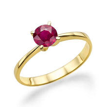 "Load image into Gallery viewer, 0.2 Carat 14K Yellow Gold Ruby ""Vivian"" Engagement Ring - Diamonds Mine"