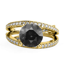 "Load image into Gallery viewer, 1.5 Carat 14K Rose Gold Black Diamond ""Victoria"" Engagement Ring"