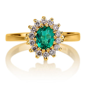 "1.3 Carat 14K White Gold Emerald & Diamonds ""Yvette"" Engagement Ring"