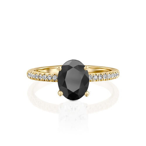 1.1 Carat 14K Yellow Gold Black Diamond