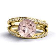 "Load image into Gallery viewer, 2.9 Carat 14K Rose Gold Morganite & Diamonds` ""Victoria"" Engagement Ring"