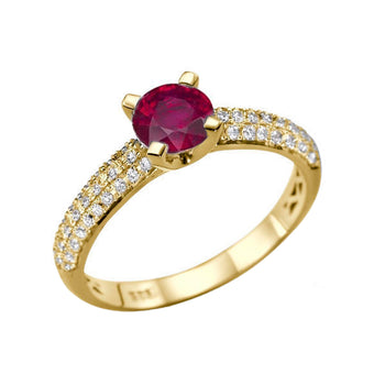 1.3 Carat 14K Yellow Gold Ruby & Diamonds