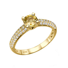 "Load image into Gallery viewer, 1.02 TCW 14K White Gold Yellow Sapphire ""Carmen"" Engagement Ring - Diamonds Mine"