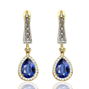 "2 TCW 14K White Gold Blue Sapphire ""Francie"" Earrings"