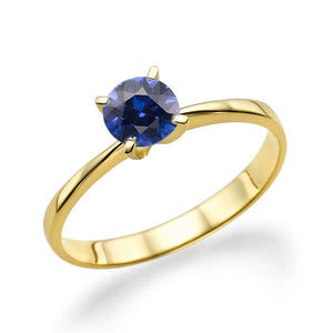 "0.2 Carat 14K Yellow Gold Blue Sapphire ""Vivian"" Engagement Ring - Diamonds Mine"