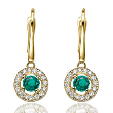 "Load image into Gallery viewer, 0.8 TCW 14K Yellow Gold Emerald ""Carole"" Earrings"