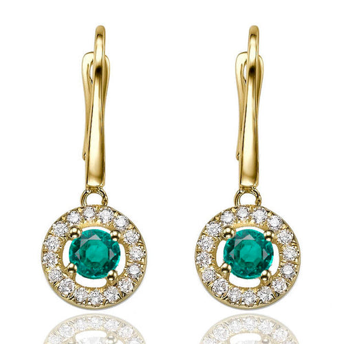 0.8 Carat 14K Yellow Gold Emerald & Diamonds