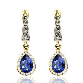 2 Carat 14K Yellow Gold Blue Sapphire & Diamonds