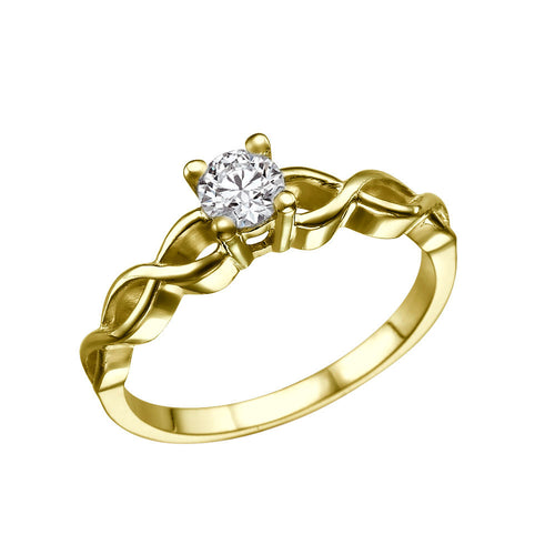 "0.5 Carat 14K Yellow Gold Moissanite ""Amelia"" Ring - Diamonds Mine"
