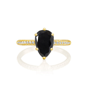 "1.2 Carat 14K Yellow Gold Black Diamond ""Lucy"" Engagement Ring"