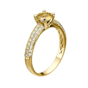"1.02 TCW 14K Yellow Gold Yellow Sapphire ""Carmen"" Engagement Ring - Diamonds Mine"