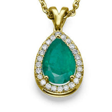 "Load image into Gallery viewer, 2.25 TCW 14K White Gold Emerald ""Tamara"" Pendant"