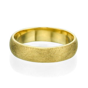 5MM 14K Yellow Gold Brushed Finish Men Wedding Band