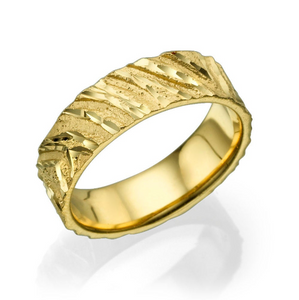 6MM 14K Yellow Gold Designer Pattern Wedding Band