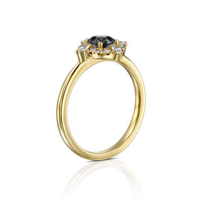 14K Yellow Gold 0.20 cttw Round Shape Diamond Engagement Ring (K-L color, I1-I2 Clarity, Good Cut) Solitaire - Diamonds Mine