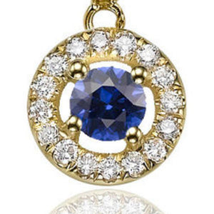 "0.6 Carat 14K Yellow Gold Blue Sapphire & Diamonds ""Carole"" Earrings"