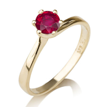 0.3 Carat 14K Yellow Gold Ruby
