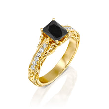 "Load image into Gallery viewer, 1.2 Carat 14K Yellow Gold Black Diamond ""Kira"" Engagement Ring"