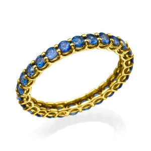 "1.7 TCW 14K Yellow Gold Blue Sapphire ""Stella"" Wedding Band"