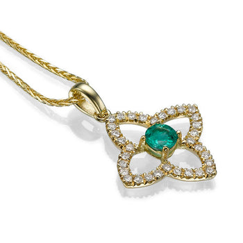 0.6 TCW 18K Yellow Gold Emerald Flower Pendant