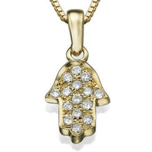 Load image into Gallery viewer, 0.1 TCW 14k White Gold Diamond Hamsa Pendant