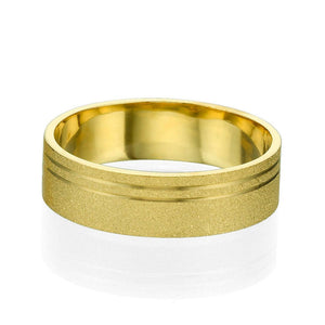 6MM 14K Yellow Gold Sand Pattern Men Wedding Band