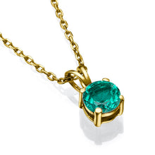 "Load image into Gallery viewer, 0.3 Carat 14K White Gold Emerald ""Nina"" Pendant"