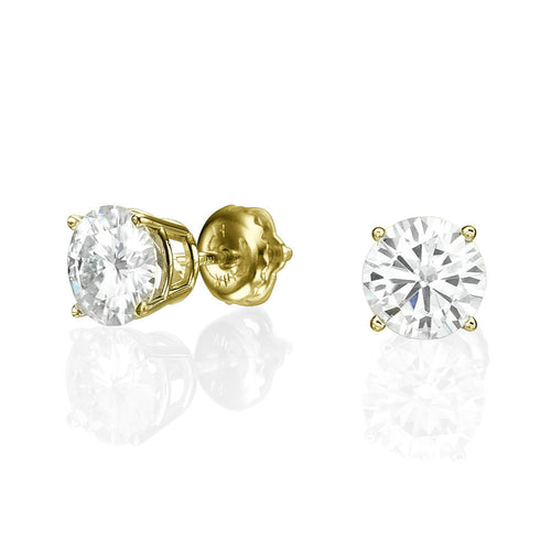 2.4 Carat 14K Yellow Gold Forever Classic Moissanite