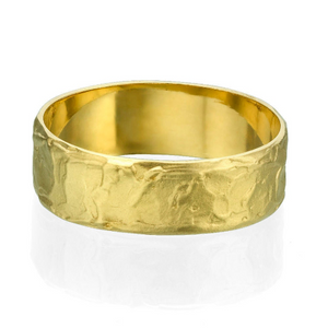 6.5MM 14K Yellow Gold Fancy Texture Men Wedding Band
