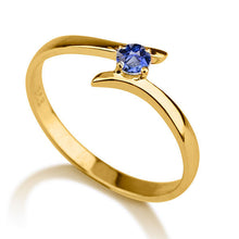 "Load image into Gallery viewer, 0.2 Carat 14K Yellow Gold Blue Sapphire ""Isabel"" Engagement Ring - Diamonds Mine"