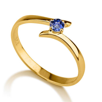 "0.2 Carat 14K Yellow Gold Blue Sapphire ""Isabel"" Engagement Ring - Diamonds Mine"