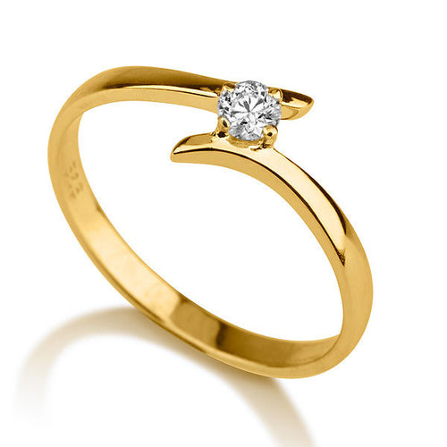 "0.1 Carat 14K Yellow Gold Solitaire Twist Moissanite ""Isabel Engagement Ring - Diamonds Mine"