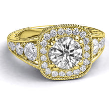 "Load image into Gallery viewer, 1.8 Carat 14K Rose Gold Moissanite & Diamonds ""Elizabeth"" Engagement Ring"
