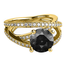 "Load image into Gallery viewer, 1.5 Carat 14K White Gold Black Diamond ""Victoria"" Engagement Ring"