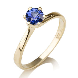 "0.3 Carat 14K White Gold Blue Sapphire ""Chelsea"" Engagement Ring"