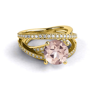 "2.9 Carat 14K Rose Gold Morganite & Diamonds` ""Victoria"" Engagement Ring"